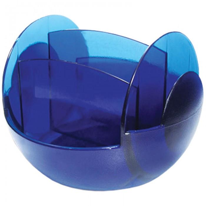 Berlingo Настольная подставка FRНастольная подставка FRBerlingo Настольная подставка FR  Оригинальный дизайн, модная комбинация разных фактур пластика (глянцевой и матовой) Подставка вращается на 360c  Выполнена из полупрозрачного пластика синего цвета.  Количество отделений – 6 Размер – 16 х 16 х 13 см Цвет – синий<br>