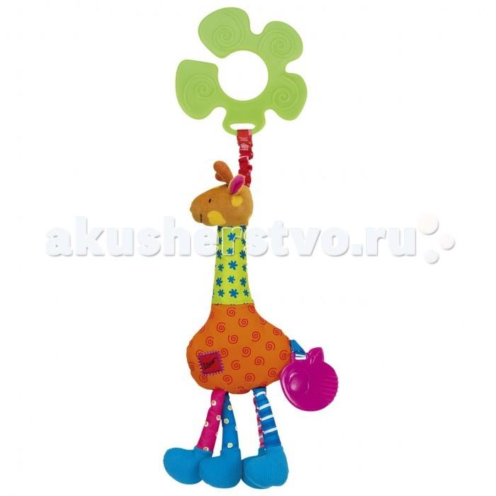 Подвесная игрушка KS Kids Жираф ИгорьЖираф ИгорьПодвеска Жираф Игорь Ks Kids на вибрирующей ленте с прорезывателем и погремушкой для коляски и кроватки.   Материал:  пластмасса, текстиль<br>