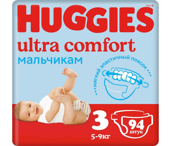 Huggies Подгузники Ultra Comfort Giga Pack для мальчиков 3 (5-9 кг) 94 шт.