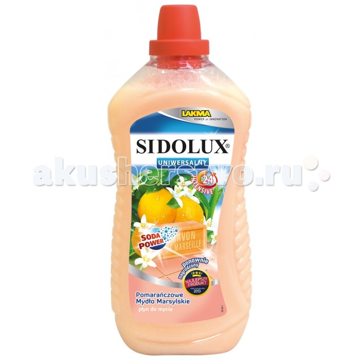 Sidolux Средство для мытья универсальное Апельсиновое марсельское мыло 1 лСредство для мытья универсальное Апельсиновое марсельское мыло 1 лПродукт сочетает в себе эффективность и необыкновенный запах марсельского мыла с примесью апельсина.   В Sidolux для универсального мытья использована система Soda Power, которая имеет свойства смягчения воды, вследствие чего загрязнения быстро удаляются с поверхности.   Благодаря этому продукту Вы сможете очистить различные моющиеся поверхности, без разводов и необходимости тщательного протирания. Его можно спокойно использовать, в частности, для мытья полов, подоконников, столешниц или цветочных кадок.  Свойства продукта: имеет приятный и стойкий запах прекрасно моет и очищает  Способ применения: Влить 1.5 колпачка жидкости к 5 литрам воды. Приготовленным таким образом раствором помыть поверхность.<br>