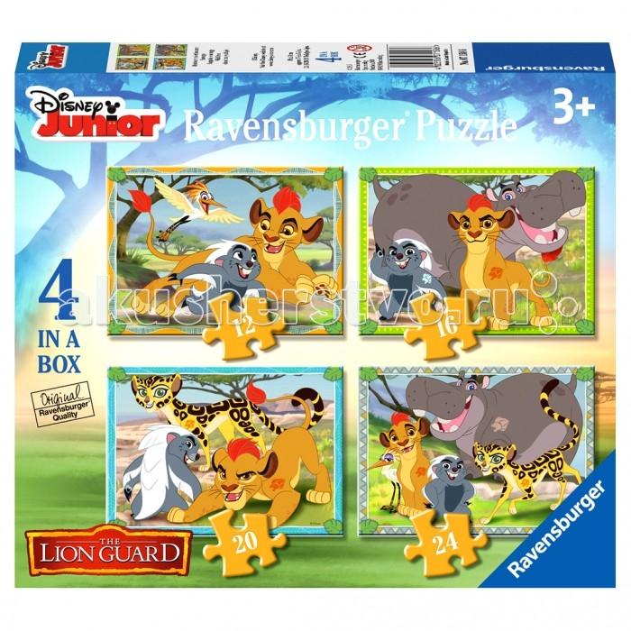 Ravensburger Пазл 4 в 1 Хранитель ЛевПазл 4 в 1 Хранитель ЛевRavensburger Пазл 4 в 1 Хранитель Лев 07158WD  Набор пазлов 4 в 1 Хранитель Лев состоит из 72 элементов. Каждая картинка отличается от другой уровнем сложности и количеством деталей: 12, 16, 20, 24 элементов. На красочных картинках изображены мультяшные герои американского мультсериала The Lion Giard, который основан на известном мультфильме Король Лев. Цветные элементы пазла изготовлены из плотного картона и хорошо соединяются друг с другом, образуя ровное полотно. Благодаря качеству деталей набором можно пользоваться много раз.  Сборка пазлов помогает развить у детей координацию движений, внимательность, усидчивость, терпеливость, образное мышление, а также восприятие формы и цвета.<br>