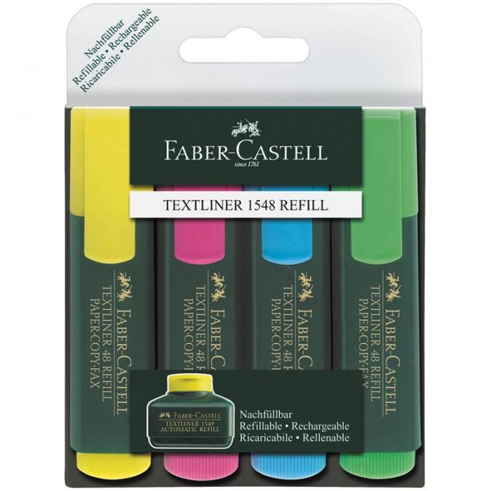 Faber-Castell Набор маркеров 1548 4 цветаНабор маркеров 1548 4 цветаТекстовыделители с флуоресцентными чернилами на водной основе. Текстовыделитель возможно перезаправлять.   Удобный клип. Цвет колпачка и торцевого элемента соответствует цвету чернил.  очень качественный маркер   возможность повторного наполнения чернилами на водной основе   идеален для всех видов бумаги   заправленный чернилами на водной основе   в наборе 4 цвета: желтый, розовый, синий, зеленый линия маркировки шириной 1-5 мм<br>