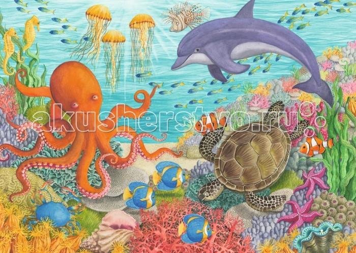 Ravensburger Пазл Океан друзей 35 элементовПазл Океан друзей 35 элементовRavensburger Пазл Океан друзей 35 элементов 08780  Ребенок своими руками сможет собрать классический пазл с изображением удивительного подводного мира. Тут можно увидеть целое разнообразие живых существ: доброго дельфина, черепашку, разных рыбок, несколько медуз, краба, морских звезд и слегка не выспавшегося, но самого позитивного персонажа - улыбающегося осьминога. Над водной гладью видны лучи солнца, пробивающиеся сквозь толщину воды и озаряющие морское дно, полное разных красивых растений.  Размер пазла в собранном виде: 28 х 20 см.<br>