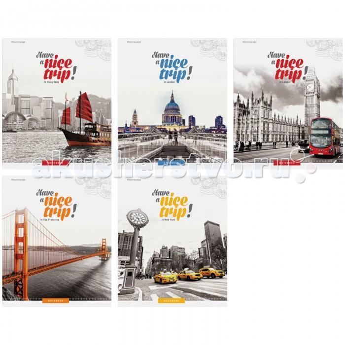 Спейс Тетрадь А5 клетка Путешествия Nice trip металлизированный картон (48 листов)