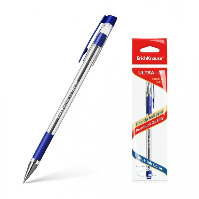 Erich Krause Ручка шариковая Ultra L-30 синяяРучка шариковая Ultra L-30 синяяКлассический дизайн ручки, диаметр и круглая форма корпуса способствует правильному захвату рукой.   Прозрачный корпус позволяет контролировать уровень расхода чернил, а прорезиненная вставка в области обхвата предотвращает скольжение пальцев во время работы.   Ручка дает аккуратную четкую линию и обеспечивает превосходное качество письма. Чернила быстро сохнут и не размазываются.<br>