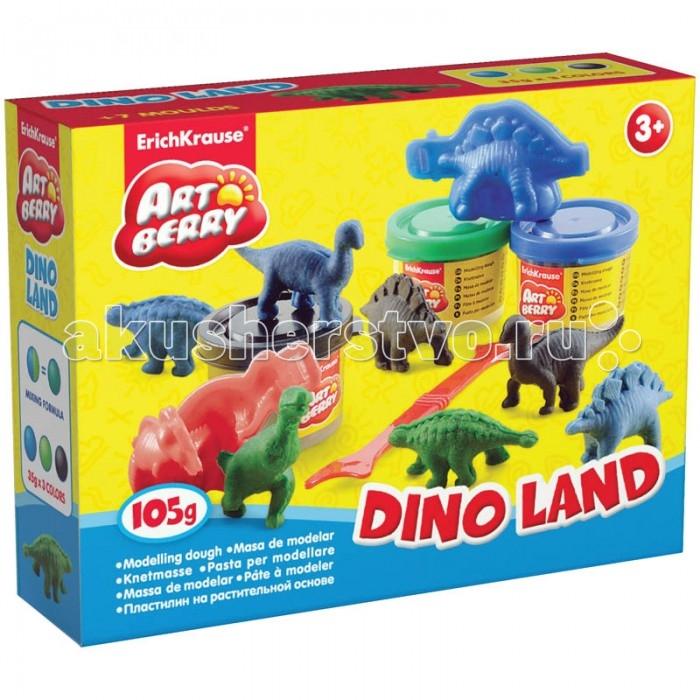 Erich Krause Масса для лепки Dino Land 3 цвета по 35 г с формочкамиМасса для лепки Dino Land 3 цвета по 35 г с формочкамиНабор для лепки Dino Land состоит из трех баночек пластилина, удобного стека для разрезания и формочек в виде различных пород динозавров.   Пластилин сделан из натуральных продуктов: твердые сорта пшеницы, оливковое масло и натуральные красители. Поэтому даже в том случае, если малыш захочет попробовать его на вкус, это никак не отразится на здоровье ребенка.   Пластилин отлично принимает необходимую форму, не прилипает к рукам. Малыш сможет развивать свой творческий потенциал и придумывать интересные фигурки.  Комплект: 3 банки пластилина, стек, 6 формочек.<br>