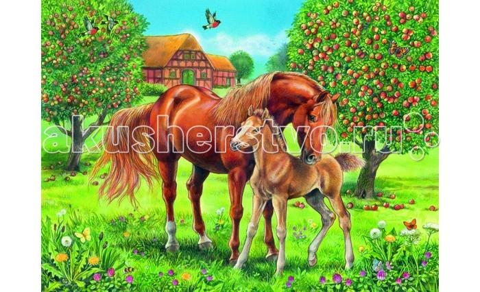 Ravensburger Пазл Лошади в поле XXL 100 элементовПазл Лошади в поле XXL 100 элементовRavensburger Пазл Лошади в поле XXL 100 элементов 10577  Данный пазл, состоящий из 100 элементов, собирается в красочную картинку, на которой изображена лошадь с жеребенком в яблочном саду. Все детали пазла изготовлены из плотного картона и легко соединяются друг с другом. Готовую картинку можно склеить и повесить на стенку или разобрать и начать увлекательный процесс сборки заново.  Размер собранного пазла: 49 x 36 см.<br>