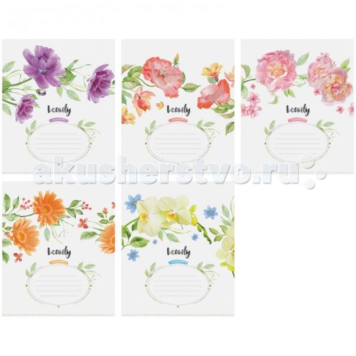 Спейс Тетрадь А5 клетка Цветы Beauty in flower выб УФ-лак (48 листов)