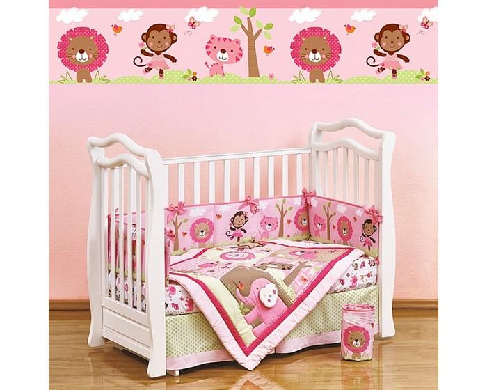 Комплект в кроватку Giovanni Shapito Pink Zoo (7 предметов)Shapito Pink Zoo (7 предметов)Shapito Pink Zoo (7 предметов)  Комплект для детской кроватки из 7 предметов. Одеяло-покрывало декорировано вышивкой и тканевыми аппликациями.  Бампер состоит из 4-х частей, что позволяет использовать его как по всему периметру кроватки в варианте для младенца, так и в варианте диванчика для подросшего малыша, чехлы не съемные.  Простыня на резинке надежно закрепляется на матрасе и не позволяет складкам воздействовать на кожу ребенка  Юбка придает изысканный внешний вид детской кроватке.  Габаритные размеры Простыня натяжная на резинке: 120x60 см Бампер: 120x25 см - 2 штуки Бампер: 60x25 см - 2 штуки Одеяло - покрывало с аппликацией: 107x84 см Юбка декоративная: по периметру, высота 23 см.<br>