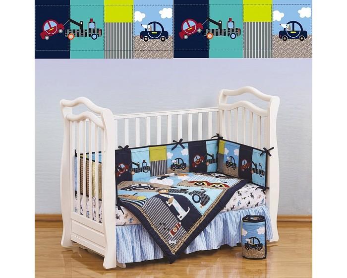 Комплект в кроватку Giovanni Shapito Transportation (7 предметов)Shapito Transportation (7 предметов)Shapito Transportation (7 предметов)  Комплект для детской кроватки из 7 предметов. Одеяло-покрывало декорировано вышивкой и тканевыми аппликациями.  Бампер состоит из 4-х частей, что позволяет использовать его как по всему периметру кроватки в варианте для младенца, так и в варианте диванчика для подросшего малыша, чехлы не съемные.  Простыня на резинке надежно закрепляется на матрасе и не позволяет складкам воздействовать на кожу ребенка  Юбка придает изысканный внешний вид детской кроватке.  Габаритные размеры Простыня натяжная на резинке: 120x60 см Бампер: 120x25 см - 2 штуки Бампер: 60x25 см - 2 штуки Одеяло - покрывало с аппликацией: 107x84 см Юбка декоративная: по периметру, высота 23 см.<br>
