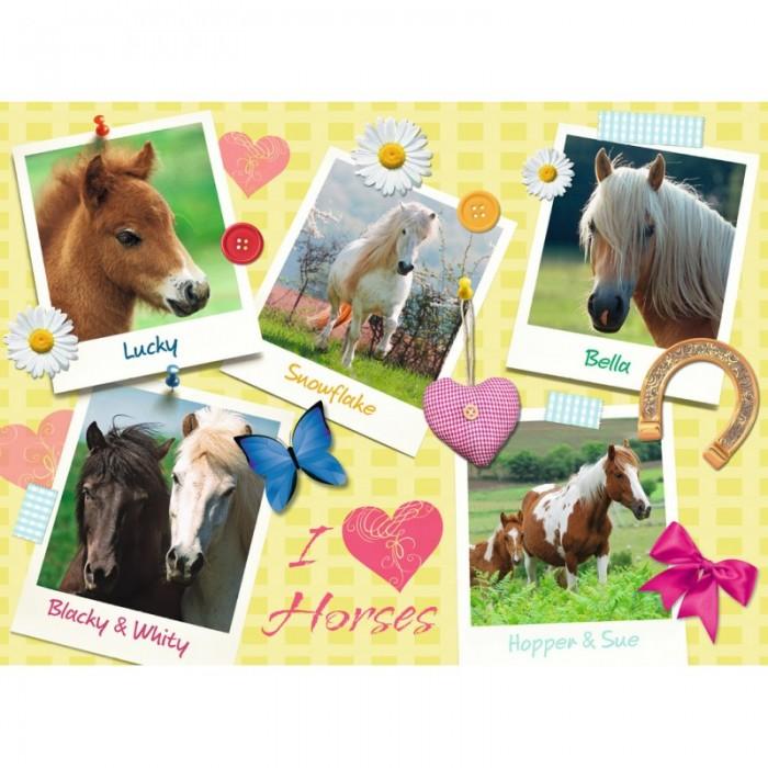 Ravensburger Пазл Мои любимые лошади XXL 300 элементовПазл Мои любимые лошади XXL 300 элементовRavensburger Пазл Мои любимые лошади XXL 300 элементов 13186  Пазл Мои любимые лошадки создан для всех любителей лошадей. В наборе имеется 5 картинок различных лошадок, таких как Хоппер и Сью, Бэлла, Счастливчик, Снежинка, а также Черныш и Белянка. Каждая лошадь прекрасна по-своему, обладает безупречной породой, невероятно свободолюбива и красива. Проклеив каждый пазл специальным клеем, который приобретается отдельно, владелец пазла может поместить результат многодневных стараний в рамку и установить на видном месте. Благодаря качественным матовым деталям, картинка будет выглядеть как настоящая фотография без различных бликов на поверхности. Размер готовой картинки: 49х36 см.  Размер собранного пазла: 49 x 36 см.<br>