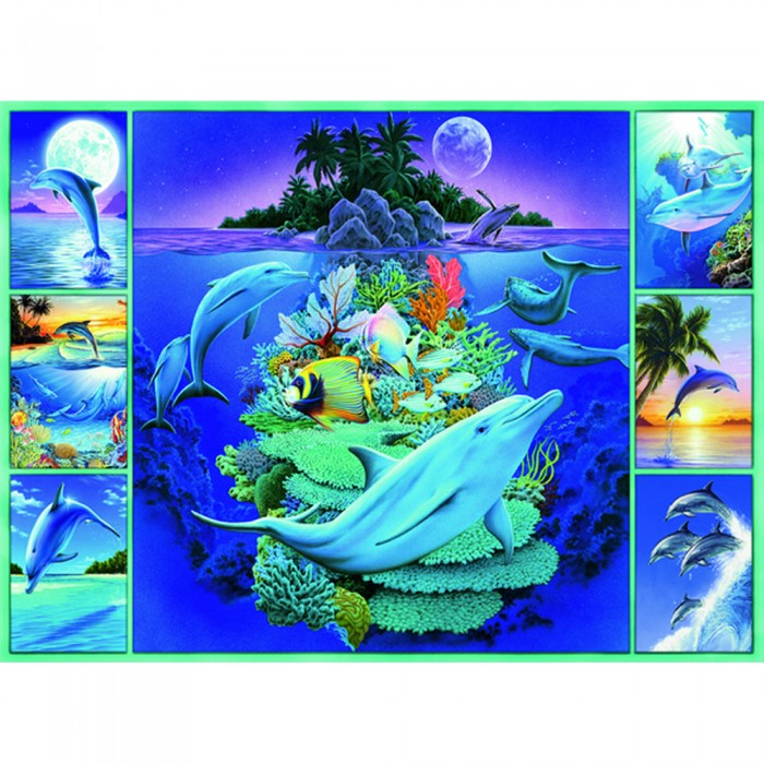 Ravensburger Пазл Дельфины XXL 300 элементовПазл Дельфины XXL 300 элементовRavensburger Пазл Дельфины XXL 300 элементов 13191  Дельфины от компании Ravensburger - это потрясающей красоты пазл, состоящий из 300 элементов. Собрать такую картинку - довольно долгая и кропотливая работа, однако результат в полной мере себя оправдывает, кроме того, сборка пазла помогает справиться с нервным стрессом и успокоиться. На пазле изображены симпатичные дельфины на фоне необычайно красивого пейзажа.  Размер собранного пазла: 49 x 36 см.<br>