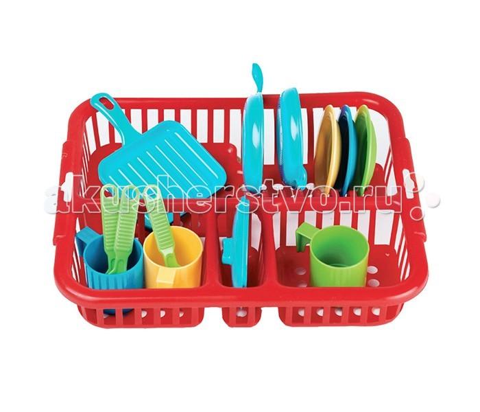 Faro Большой набор посуды (13 предметов)Большой набор посуды (13 предметов)Большой набор посуды Faro 13 предметов это яркий и красивый набор для маленькой хозяйки.  Все предметы умещаются в красной корзинке с пятью отделениями, где их удобно сушить и хранить.  В комплекте: 2 сковородки, 2 крышки, 3 разноцветных тарелки, 3 чашки, 3 ложки, сушилка для посуды, которая имеет необходимые отделения для хранения.  Набор предназначен для детей старше 3-х лет  Размер подставки: 31 х 24 см<br>