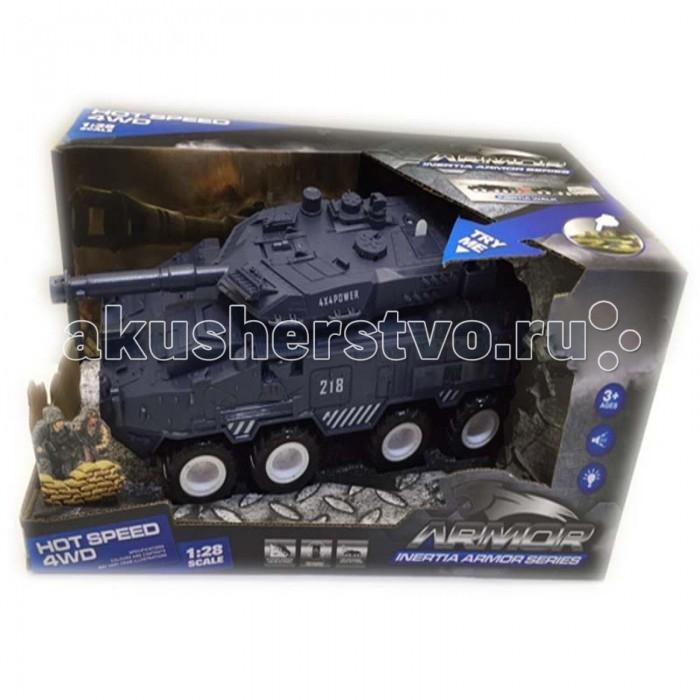 Yako Танк инерционный 4WD 1:28 Y12318512Танк инерционный 4WD 1:28 Y12318512Инерционный танк Hot Speed представлен популярным производителем детских игрушек Yako Toys.   Танк является моделью настоящей военной техники БТР 4WD, выполненной в масштабе 1:28. Танк оснащен звуковыми и световыми эффектами, имитирующими работу настоящего танка. Танк изготовлен из пластмассы и окрашен в военном стиле с максимальной прорисовкой деталей.   Игрушка имеет встроенный инерционный механизм, позволяющий танку двигаться самостоятельно по ровной поверхности. Для того чтобы завести двигатель машины, следует совершить несколько поступательных движений, проводя колесами по поверхности, а затем отпустить игрушку.<br>