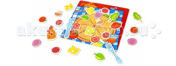 Деревянная игрушка Classic World Развивающая магнитная игра ПиццаРазвивающая магнитная игра ПиццаМагнитная игра Пицца поможет вашему малышу почувствовать себя настоящим шеф-поваром.  Эта магнитная игра познакомит ребенка с различными овощами, фруктами, а так же приборами, при помощи которых он легко может создать великолепную пиццу на свой вкус.  В процессе игры ребенок знакомится с разнообразными видами продуктов, что способствует расширению кругозора и пополнению словарного запаса.   Магнитная игра изготовлена из экологически чистого дерева с использованием безопасных для здоровья ребенка красок.<br>