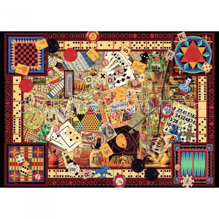 Ravensburger Пазл Старинные игры 1000 элементовПазл Старинные игры 1000 элементовRavensburger Пазл Старинные игры 1000 элементов 19406  Пазл Старинные игры предназначен для сборки красочной картины с изображением винтажных предметов. Пазл состоит из 1000 элементов. На картине мы можем увидеть различные классические игры: карты, домино, шашки, лото и другие. Многие люди любят проводить свободное время за разными интересными играми, а данная картина может познакомить с несколькими из них.  Элементы пазла выполнены из качественного картона, каждая деталь обладает своей определенной формой и подходит только на свое место. Такую картину будет интересно собирать, ведь все детали очень красочные.  Сборка пазла способствует развитию координации движений, усидчивости, наблюдательности, образного мышления и цветового восприятия. Готовое изображение можно повесить на стену и украсить интерьер комнаты.  Размер собранного пазла: 70 х 50 см.<br>