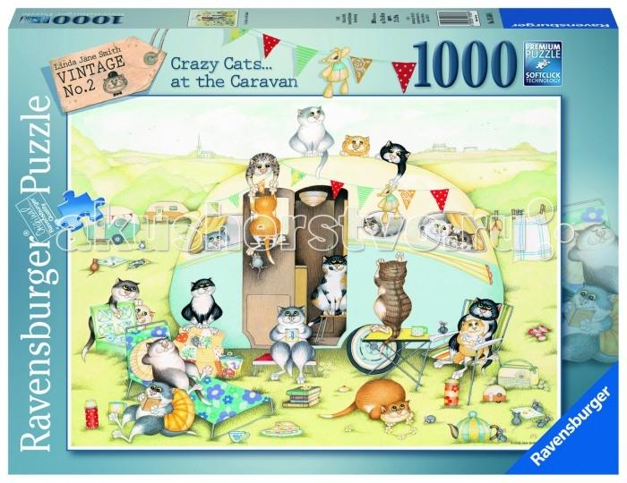 Ravensburger Пазл Безумные коты 1000 элементовПазл Безумные коты 1000 элементовRavensburger Пазл Безумные коты 1000 элементов 19588  Пазл Безумные коты от компании Ravensburger состоит из 1000 элементов, собирающиеся в цельную картинку, на которой изображен трейлерный парк с его необычными жителями. Веселые коты собрались у одного из домиков, чтобы весело провести время, загорая и играя в разные игры, а некоторые из них устроились на подушках с книжкой в руках.  Размер собранного пазла: 70 х 50 см.<br>