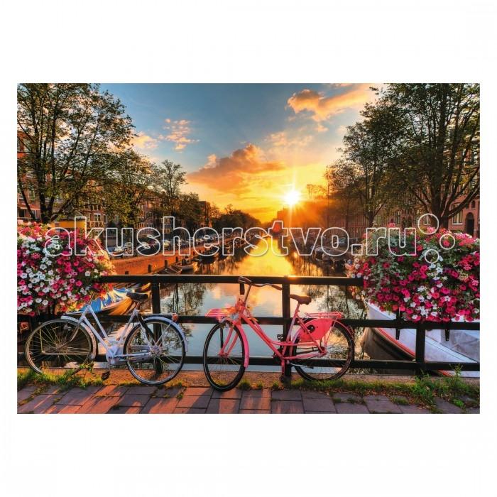 Ravensburger Пазл Велосипеды в Амстердаме 1000 элементовПазл Велосипеды в Амстердаме 1000 элементовRavensburger Пазл Велосипеды в Амстердаме 1000 элементов 19606  Собрав элементы пазла Велосипеды в Амстердаме, можно получить прекрасную картину на фоне заходящего солнца. Пазл состоит из 1000 деталей. На картине изображены 2 велосипеда, оставленные на мосту какой-то влюбленной парочкой. По бокам растут цветы в специальных ящичках, в центре - блестит вода в канале, а по краям пришвартованы деревянные лодки; голубое небо затянуто белыми облачками - во всем этом чувствуется тишина и спокойствие.  Элементы пазла выполнены из качественного картона, каждая деталь обладает своей определенной формой и подходит только на свое место. Такую картину будет интересно собирать, ведь все детали очень красочные, не однотонные. Сборка пазла способствует развитию координации движений, усидчивости, наблюдательности, образного мышления и цветового восприятия.   Готовое изображение можно повесить на стену и украсить интерьер любой комнаты.  Размер собранного пазла: 70 х 50 см.<br>