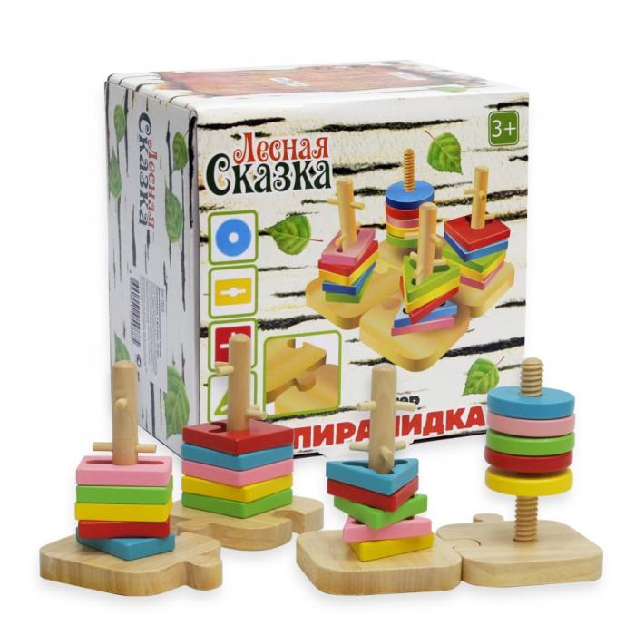 Деревянная игрушка Фабрика фантазий Сортер Пирамидки 4 фигуры, 20 деталей 47476