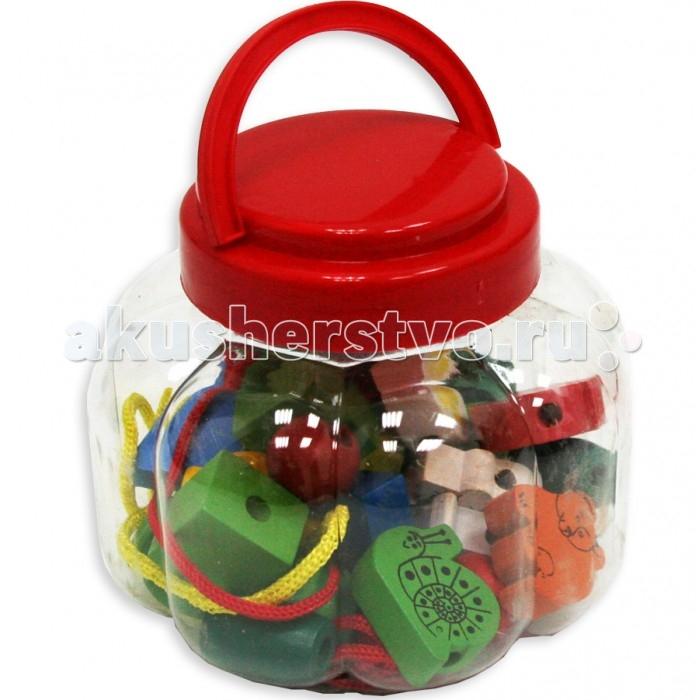 Деревянная игрушка Фабрика фантазий Шнуровка Бусины в пластиковой коробке 42252Шнуровка Бусины в пластиковой коробке 42252Шнуровка Бусины - яркая увлекательная, и в то же время простая развивающая игра. В набор входят разноцветные бусины с изображениями животных с отверстиями, шнурочки. Ребенок должен собирать бусины на шнурочки.  Игра способствует развитию мелкой моторики рук, логического мышления и координации движений.    Игрушка выполнена из экологически чистого и долговечного материала дерева, не имеет острых углов, сколов и зазубрин.<br>