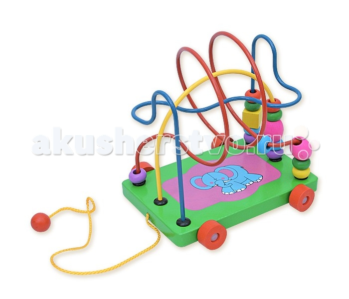 Деревянная игрушка Фабрика фантазий лабиринт-каталка Слоник 47486