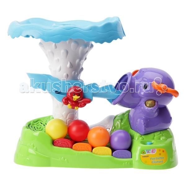 Развивающая игрушка Vtech Обучающий слон с шариками 80-112026Обучающий слон с шариками 80-112026Обучающий слон с шариками Vtech со звуковыми и световыми эффектами , не оставит равнодушным вашего маленького непоседу.  2 обучающими режимами игры и спуском в виде серпантина .  Если опустить шарик в специальное отверстие, то он сначала подпрыгнет в воздух, а потом начнёт спускаться по волшебному серпантину. Во время его спуска малыш услышит забавные звуки, фразы и мелодии.  Особенности:  2 режима игры 4 разноцветных шарика 4 клавиши пианино 2 песни из мультфильмов Учимся различать цвета Учимся различать животных и их голоса Учим цифры Слушаем музыку Опускаем шарик в отверстие, и он подпрыгивает в воздух Шарик скатывается по серпантину вниз<br>