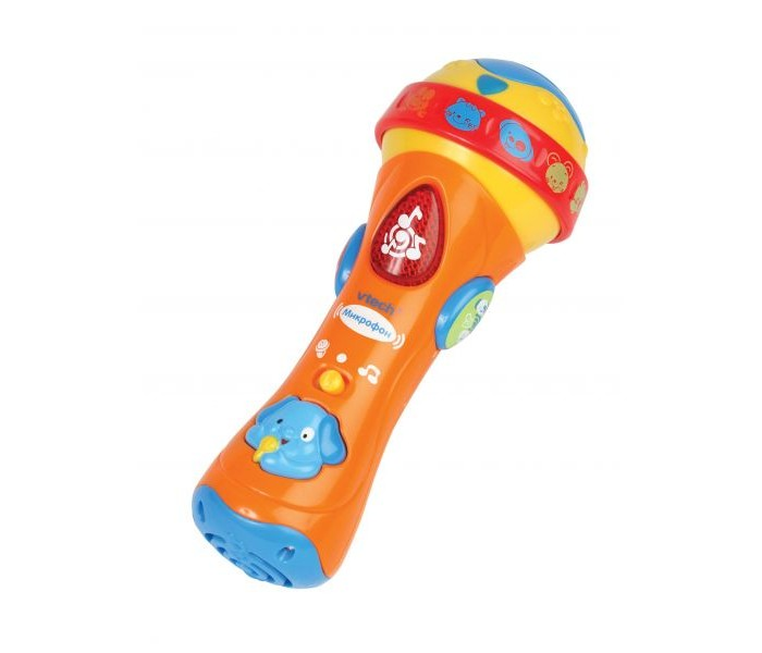 Музыкальная игрушка Vtech Микрофон 80-078726Микрофон 80-078726Развивающая игрушка Vtech Микрофон  Форма микрофона сделана так, что малышу будет удобно держать его в руке и одновременно нажимать на кнопки, меняя режимы. Интерактивный микрофон при помощи разнообразных звуковых эффектов и 18 мелодий познакомит ребенка с нотами, разовьет чувство ритма, поможет запомнить названия и звуки 12 животных.<br>