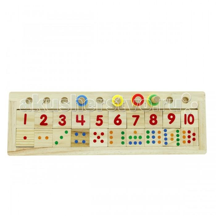 Деревянная игрушка Фабрика фантазий Счет 47482Счет 47482Деревянная игрушка настольная игра Счет - яркая увлекательная, и в то же время простая развивающая игра для обучения счету.  В набор входят: деревянные карточки с цифрами и точечками, палочки и разноцветные колечки.   В непренужденной игровой форме ребенок осваивает элементарный счет и изучает основные цвета, учится соотносить и правильно расставляет колечки в соответствии с числом, указанным на карточке, а также количеством и цветом точечек, тренирует мелкую моторику рук, развивает логическое мышление и координацию движений.  Игрушка сделана из экологически чистого и долговечного материала - дерева.<br>