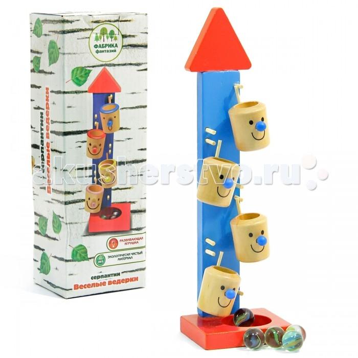 Деревянная игрушка Фабрика фантазий Игра на ловкость Веселые ведерки 42295Игра на ловкость Веселые ведерки 42295Деревянная игра на ловкость Веселые ведерки  - увлекательная игрушка для любого ребенка. Игрушка состоит из основания с прикрепленными к нему 4-мя вращающимися разноцветными ведерками с забавными рожицами.  В самое верхнее ведерко кладется шарик, и он сам падает из первого ведерка во второе и далее до последнего, из последнего ведерка шарики попадают в специальную чашу и никуда не раскатываются.  Игрушка развивает зрительную координацию, внимание, моторику рук, пространственное мышление. Способствует развитию координации и последовательности движений, учит различать цвета.<br>