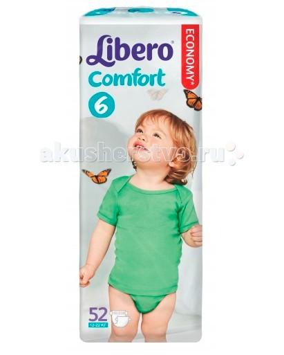 Libero Подгузники Comfort (12-22 кг) 52 шт.Подгузники Comfort (12-22 кг) 52 шт.Вес ребенка: 12-22 кг Количество в упаковке: 52 шт.  Одноразовые подгузники Либеро - это надёжная защита ребёнка от протеканий даже во время длительного ношения, ведь они обладают высокой впитываемостью.  Кроме этого, подгузники Либеро Комфорт тонкие и дышащие - свойства первоочередной важности при выборе подгузников.   • Мягкие и тонкие • Хорошо впитывают • Не содержат лосьонов • Тянущиеся боковинки и эластичный поясок для более комфортного прилегания • Мягкие резиночки анатомической формы вокруг ножек • Позволяют коже дышать В каждой упаковке Libero Comfort вы найдете 2 разных дизайна подгузников! Libero Baby Soft 6 (Экстра Лардж).<br>
