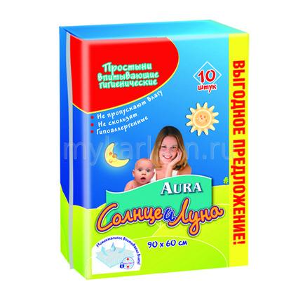 Aura Простыни гигиенические 90х60 см 10 шт.Простыни гигиенические 90х60 см 10 шт.Простыни гигиенические Aura 90х60см 10 шт  Поверхность простыней из мягкого нетканого материала приятна на ощупь, не раздражает нежную детскую кожу. Внутренний наполнитель - целлюлоза - быстро и эффективно впитывает и распределяет жидкость. Внешний слой - нескользящая защитная пленка, препятствующая протеканию.   Простыни обеспечивают надежную дополнительную защиту постельного белья, мебели, колясок, удобны в использовании во время смены подгузника, предотвращают появление опрелостей и дерматита  Материал: Целлюлоза<br>