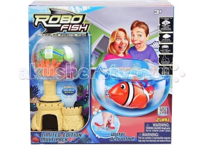 Интерактивные игрушки Robofish РобоРыбка с 2 кораллами, замком и аквариумом