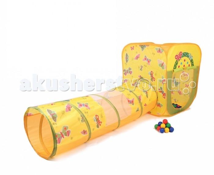 Bony Игровой домик с тоннелем с шариками Квадрат БабочкиИгровой домик с тоннелем с шариками Квадрат БабочкиКрасочные и интересные игровые домики для детей — это лучшее решение родителей, чтобы ребенок мог активно играть с пользой для здоровья!  Домики очень компактные, легкие и их легко брать с собой, например, на дачу или на природу.  В комплекте 100 разноцветных шариков, играя которыми, малыши развивают ловкость и моторику рук.   Палатка имеет окошки из сетки. Специальная дверка закрепляется на липучках. Достаточно высокий порог не позволит выкатываться шарикам.  Размеры: домик - 85&#215;85&#215;100 см, тоннель 48 х 100 см.<br>