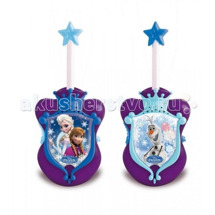 IMC toys Рация Frozen DisneyРация Frozen DisneyРация IMC toys Frozen Disney  С набором раций от компании IMC Toys вы сможете придумать невероятное количество игровых сюжетов. Комплект включает в себя 2 рации одинакового цвета и дизайна. Однако есть среди них и отличия. На одной из них изображены Принцессы Диснея из мультипликационного фильма «Холодное сердце», а на другой — их снежный друг по имени Олаф.   Рации покрашены в фиолетовый цвет с синими и голубыми элементами. На антеннах вы сможете увидеть очаровательную снежинку, а изображения героев фильма Disney окаймляет рамочка в виде короны.  Такие королевские рации помогут вам и вашим друзьям переговариваться на расстоянии. Вы сможете получать информацию во время тайного путешествия по фантазийным джунглям или же отправиться на ответственную миссию по поиску сказочной страны Эренделл.  Батарейки: 2 х 9V типа Крона не входят в комплект.<br>