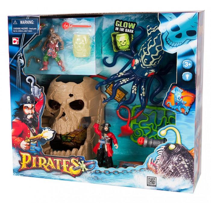 Chap Mei Игровой набор Пираты - Битва с гигантским кальмаромИгровой набор Пираты - Битва с гигантским кальмаромИгровой набор Пираты: Битва с гигантским кальмаром произведет впечатление на фантазеров, любящих настоящие приключения. Игрушки этого набора вдохновят ребенка придумать острый захватывающий сюжет для игры, и при их помощи он может разыграть его. Это фигурки пиратов, реалистичные и великолепно исполненные, пещера в виде черепа с сокровищами внутри, гигантский кальмар, который может светится, сундук с сокровищами, также светящийся, пушку, которая может стрелять, и многое другое. Игра с данным набором увлечет ребенка на не один час, она подарит ему немало положительных эмоций и поможет развить фантазию.  Комплектация набора:   Пещера в форме черепа (с сокровищами); 2 фигурки пиратов; Гигантский кальмар (может светиться - работает на батарейках); Пушка (стреляет ядрами); Сундук с золотом; Бочка (светится в темноте); Оружие.  Основные характеристики:  Размер упаковки: 41.3 х 12.7 х 38 см<br>