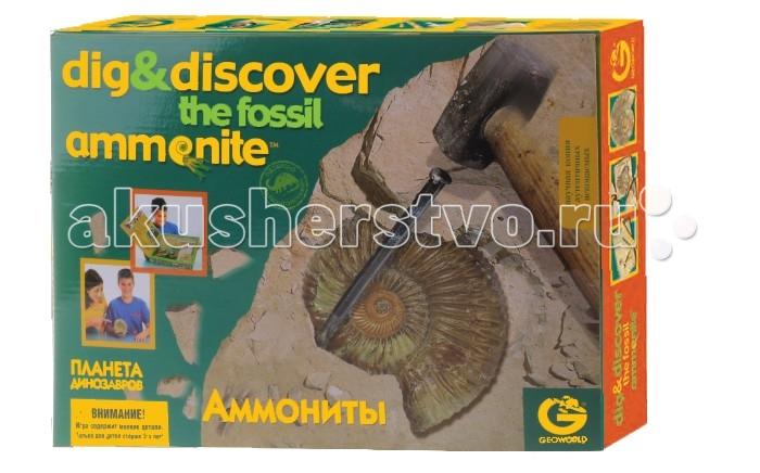Geoworld Набор геолога Древние ископаемые - АммонитыНабор геолога Древние ископаемые - АммонитыИгровой набор Древние ископаемые - Аммониты привлечет внимание вашего ребенка и позволит ему весело и интересно провести время! Набор состоит из гипсовой формы с точной копией аммонита, молотка, стамески, лупы, панели с аутентичными аммонитами, подставки и буклета. Возьмите молоток и стамеску - самые важные инструменты геолога. После первых ударов, будут видны останки аммонита. Затем возьмите лупу, чтобы лучше рассмотреть находку, и сравните находку с аутентичными образцами, затем прочитайте о них в буклете. С таким набором ваш малыш почувствует себя настоящим геологом!  Комплектация набора:   Гипсовая форма с аммонитом внутри;  Молоток; Стамеска; Лупа Подставка; Панель с аутентичными аммонитами; Буклет.  Основные характеристики:   Размер гипсовой формы: 16 x 11 x 3 см Длина очков: 12,5 см Длина молотка: 15 см Длина стамески: 7 см Размер лупы: 4 x 4 x 9 см<br>