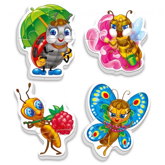 Vladi toys Пазлы мягкие Baby puzzle НасекомыеПазлы мягкие Baby puzzle НасекомыеVladi Toys Пазлы мягкие Baby puzzle Насекомые набор из 4-х крупных пазлов божьей коровки, бабочки, муравья и пчелы.  В наборе 4 картинки насекомых, разрезанные на 3-5 частей.   Детали пазлов большого размера, благодаря этому малышу будет удобно их собирать. Они хорошо крепятся друг к другу. Каждая картинка состоит из разного количества элементов.   Картинки крупные, примерный размер 10 х 15 см<br>