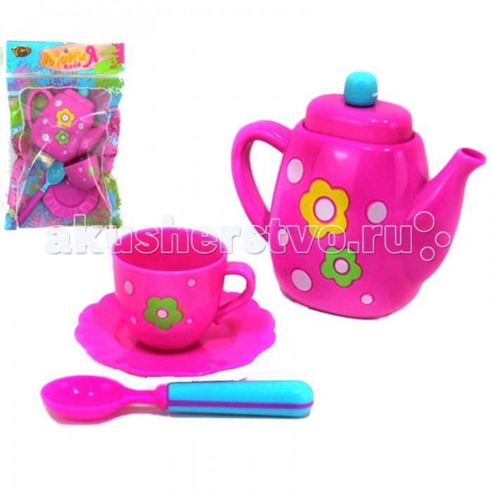 Yako Набор посуды М6006Набор посуды М6006Набор посуды М6006 для игры на детской кухне. В наборе: чайник с крышкой, чашка, блюдце, ложка.<br>