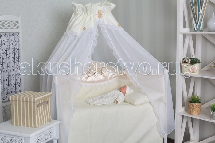 Комплект для кроватки GulSara 40 (7 предметов)40 (7 предметов)Комплект постельного белья 40 (7 предметов) включает все необходимые элементы для детской кроватки.  Кроватка Вашего малыша будет неотразимой и очень уютной. Ведь в комплект входит все необходимое для крепкого и безопасного сна малыша.  Комплект сшит из 100% натуральных материалов с соблюдением высоких стандартов качества. Ткань из 100% хлопка не только мягкая и шелковистая, но так же не электризуется, долговечная и легко стирается.   Характеристики:  Материал: бязь, вуаль. Отделка: ткань-атлас, вышивка Стрекоза. Наполнитель: синтепон (борта, подушка, одеяло).  Комплектность: комплект раздельных бортов 360х40х55 см подушка 40х60 см одеяло 110х140 см пододеяльник 110x140 см простынь 100x140 см наволочка 40x60 см балдахин 160х400 см<br>