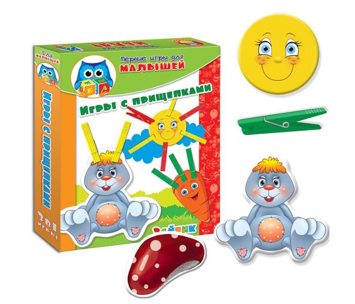 Развивающая игрушка Vladi toys НИ Прищепочки ЗайкаНИ Прищепочки ЗайкаVladi Toys НИ Прищепочки Зайка оригинальный способ занять непоседливого малыша. Ребенку предлагается дополнить фигурные картинки недостающими элементами в виде разноцветных прищепок.   Такой набор станет хорошим помощником родителям в развитии детей.   Игры развивают определенные навыки и умения, которыми должны владеть дети этого возраста.<br>