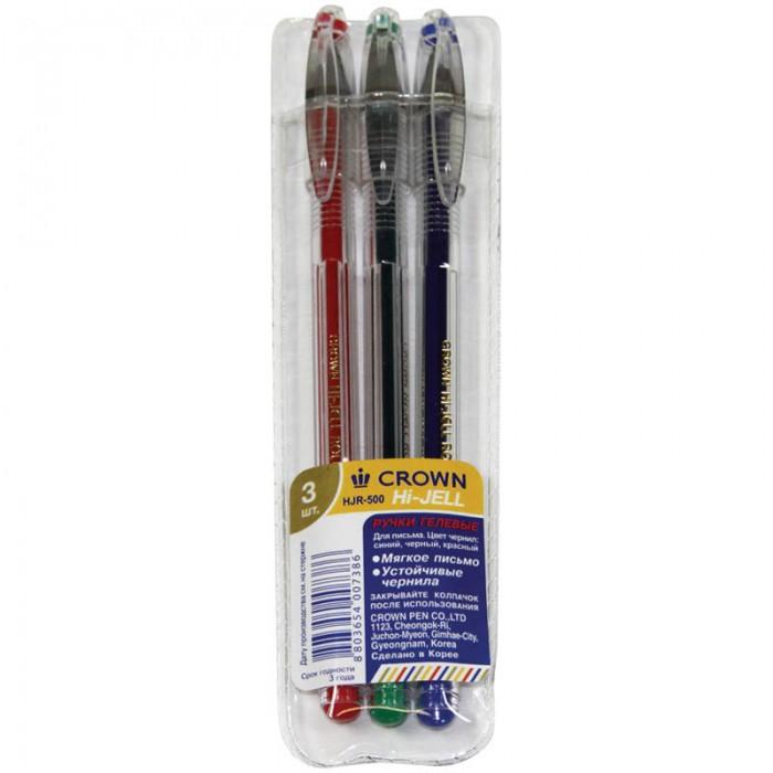 Crown Набор гелевых ручек 3 цвета 0.5 ммНабор гелевых ручек 3 цвета 0.5 ммCrown Набор гелевых ручек 3 цв, 0.5 мм.  Набор разноцветных гелевых ручек. Удобный корпус ручек с рифлением в зоне захвата препятствует скольжению пальцев при письме. Прозрачный корпус позволяет контролировать расход чернил. Цвет деталей корпуса соответствует цвету чернил. Качественные гелевые чернила обеспечивают четкое и ровное письмо.   Диаметр пишущего узла - 0,5 мм Материал корпуса пластик.<br>
