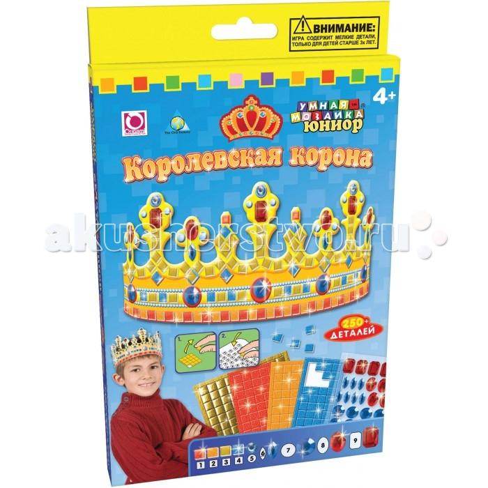 ORB Factory Мозайка Королевская корона 05038Мозайка Королевская корона 05038Мозайка Королевская корона. Этот набор соединяет в себе возможности мозаики и прикладного творчества! С его помощью вы создадите настоящую корону, богато украшенную разноцветными деталями, которую можно надевать на праздники, карнавалы и утренники!  В комплекте имеется основа с нанесенным глянцевым рисунком. На нее приклеиваются цветные фишки разных видов — мягкие, резиновые или в виде драгоценных камней.  Не нужно возиться с клеем — на оборотной стороне элементов нанесен тончайший слой, который прочно прикрепляет их к короне. Цвета фишек пронумерованы — ребенок в процессе творчества ориентируется именно на них, попутно запоминая цифры и изучая счет.<br>