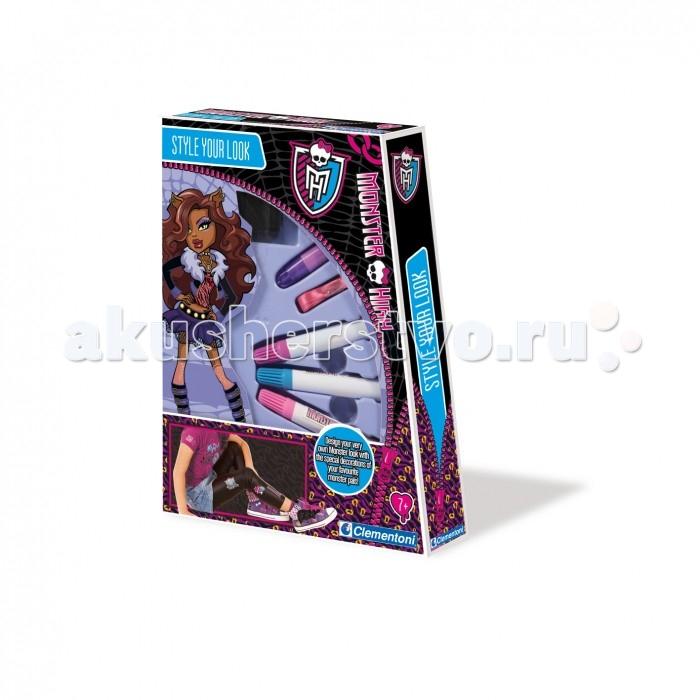 Clementoni Набор для творчества Monster High - Будь стильнымНабор для творчества Monster High - Будь стильнымТворческий набор для создания стиля по теме куклы Школа монстров. Теперь каждая девочка может по своему желанию превратиться на время в своего кумира. Для этого в наборе имеются различные монструозные заколочки, блестящие камешки и ленточки – причёска, а также трафареты и текстильные маркеры для нанесения рисунков на одежду. Коробка куклы Monster High необычной формы превращает набор в супер подарок.  Комплектация набора:  Заколочки; Ленточки для укладки; Трафареты; Маркеры.<br>