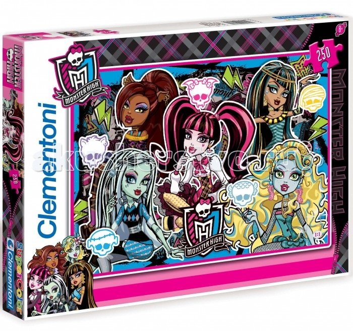 Clementoni Пазл Monster High - Будь Монстром (250 элементов)Пазл Monster High - Будь Монстром (250 элементов)Фрэнки Штейн, Дракулаура, Клодин Вульф, Клео-Де-Нил, Лагуна Блю - одни из самых стильных учащихся Школы Монстров. Каждая из них индивидуальна, у каждой - свой неповторимый яркий стиль. Составление картинки из элементов пазла стимулирует умственную деятельность, способствует развитию наглядно-образного, аналитического и логического видов мышления. Оказывает благотворное влияние на развитие зрительной памяти, внимания и воображения. Пазл напечатан и изготовлен в Италии из высококачественных материалов.  Основные характеристики:  Размер упаковки: 34,3 х 24,9 х 3,5 см Размер пазла:  48,5 х 33,5 см<br>