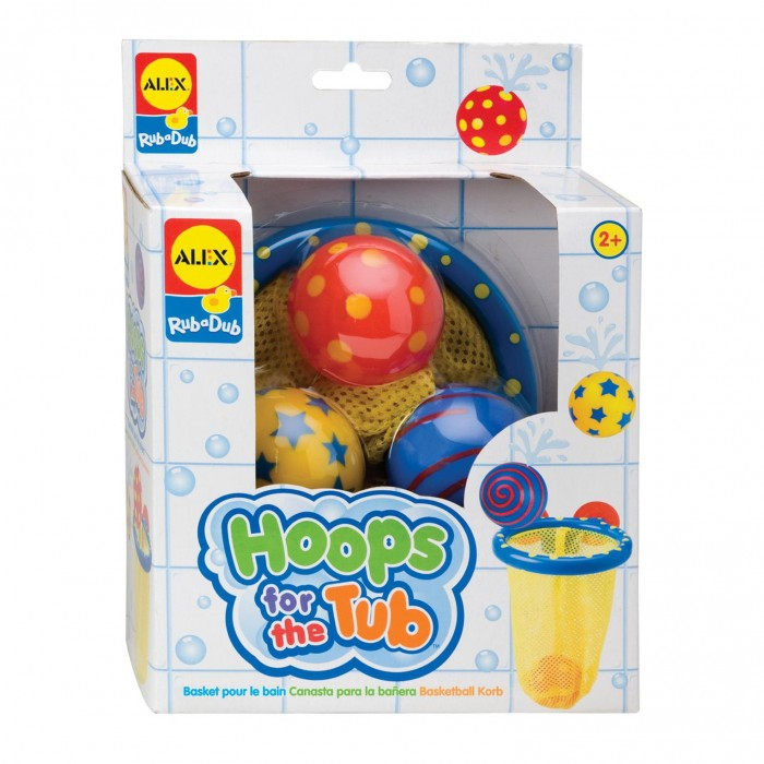 Alex Игра для ванной Мячики в сеткеИгра для ванной Мячики в сеткеМячики в сетке  - Игра для ванной.   В наборе: баскетбольная сетка на присосках, 3 разноцветных мячика с веселым рисунком.  Сетка легко прикрепляется к стенке ванны с помощью присосок.   Для детей от 2х лет.<br>
