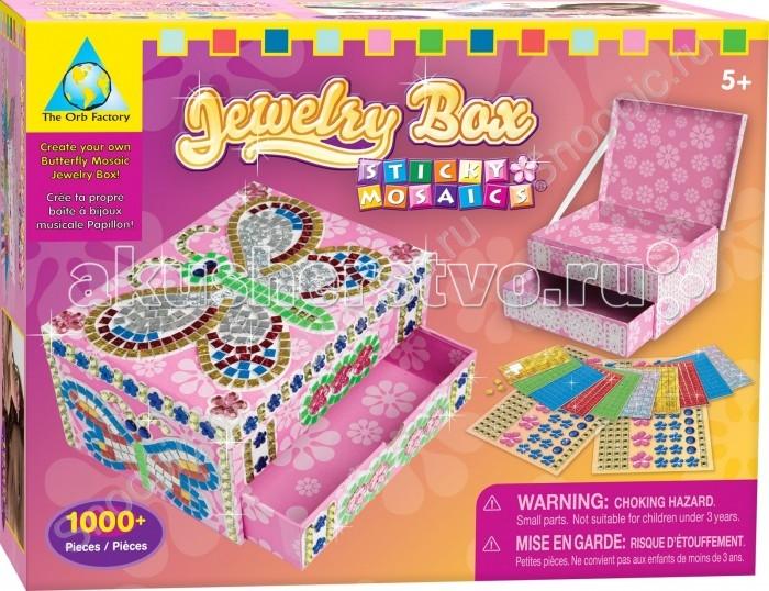 ORB Factory Мозайка-шкатулка Бабочка 05063Мозайка-шкатулка Бабочка 05063Мозайка-шкатулка Бабочка имеет эффектную расцветку и красивый дизайн. Если вы хотите сделать ребенку оригинальный и интересный подарок, который способен занять вашего малыша на один-другой вечер, то этот набор для творчества обязательно понравится вашей крохе.  В комплект входит сама шкатулка и более тысячи самоклеющихся деталей и страз, которые девочка сможет выложить поверх рисунков.  Создавать мозаику по номерам — достаточно простое занятие, ведь для того, чтобы получить рельефное изображение, необходимо просто следовать инструкции, в которой каждому цвету детали присвоен свой номер.  В конечном итоге у ребенка получится очаровательная и сверкающая шкатулка, в которую малышка сможет складывать ценные для нее вещи или использовать как емкость для хранения бижутерии.<br>