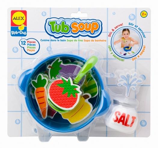 Alex Игрушка для ванной Приготовь супИгрушка для ванной Приготовь супИгрушка для ванны Приготовь суп.   Веселая забава для малыша в ванной.  В наборе: 9 игрушечных овощей - фигурок из вспененного пластика, которые плавают на поверхности воды и прилипают к мокрому кафелю.  Также кастрюлька, поварешка и солонка. Для детей от 2 лет.<br>