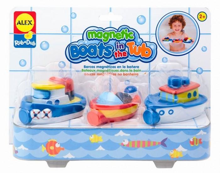 Alex Игрушки для ванной Магнитные лодкиИгрушки для ванной Магнитные лодкиИгрушки для ванны Магнитные лодки.  3 разноцветных лодочки.  Плавают в воде.  Внутри лодочек - магнит, поэтому они могут прицепляться друг к другу и плавать вместе, как будто на буксире.  Для детей от 2 лет.<br>