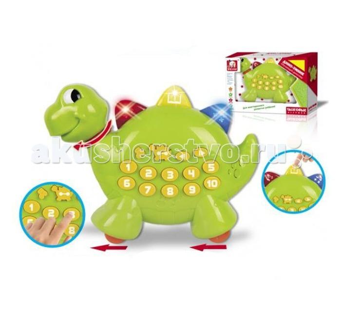 S+S Toys Talkовые игрушки Дино-умникTalkовые игрушки Дино-умникS+S Toys Talkовые игрушки Дино-умник СС76715  Современная интерактивная игрушка Дино-умник из серии Talkовые игрушки сможет легко и быстро поднять настроение абсолютно любому ребенку. Забавный маленький динозаврик имеет яркий и красочный зеленый окрас, что несомненно привлечет к себе внимание как ребенка, так и окружающих. Такая игрушка оснащена световыми и звуковыми эффектами, что обязательно порадует малыша. Игрушка может легко передвигаться по полу, благодаря колесикам на основании.<br>