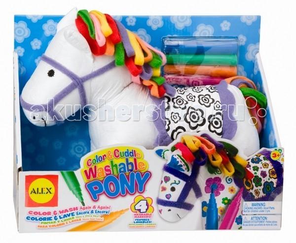 Alex Пони для раскрашиванияПони для раскрашиванияРаскрась сегодня утром, смой сегодня вечером, завтра можешь снова раскрашивать и играть!  В наборе: мягконабивная игрушка, фломастеры (4 цвета) для ткани.  Можно стирать в машинке.  Одежда снимается.   Для детей от 3 лет.<br>